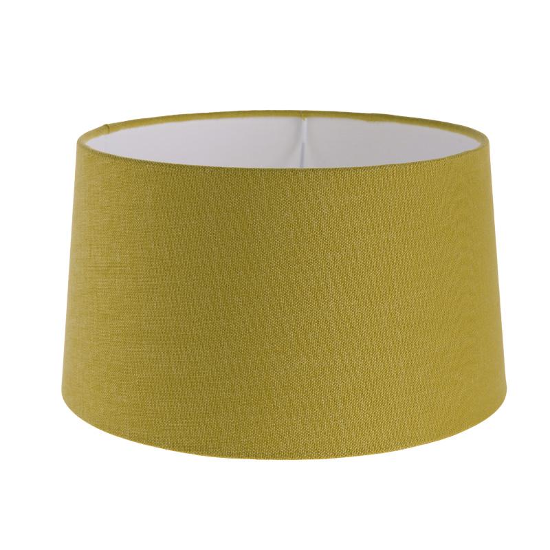 lampenschirm aus stoff in senfgelb rund 25cm aufnahme e27 unten wohnlicht. Black Bedroom Furniture Sets. Home Design Ideas