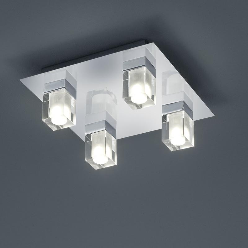 led bad deckenleuchte 4 x 3 watt chrom und glas wohnlicht. Black Bedroom Furniture Sets. Home Design Ideas