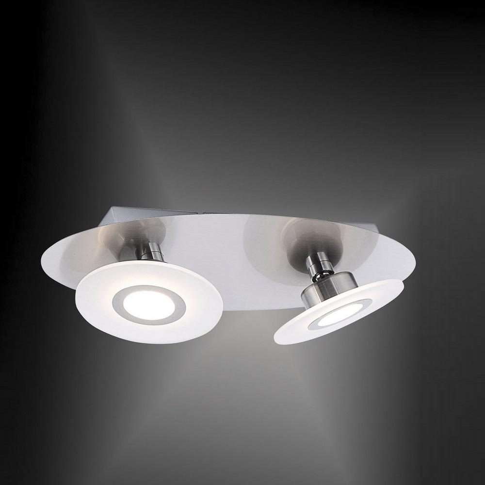 led deckenleuchte 2 flammig mit led switchmo in nickel wohnlicht. Black Bedroom Furniture Sets. Home Design Ideas