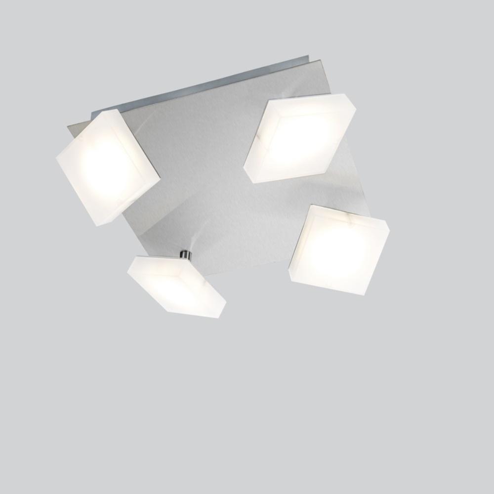 led deckenleuchte denise nickel matt 4 flammig 4x 5 watt 24 00 cm 24 00 cm wohnlicht. Black Bedroom Furniture Sets. Home Design Ideas