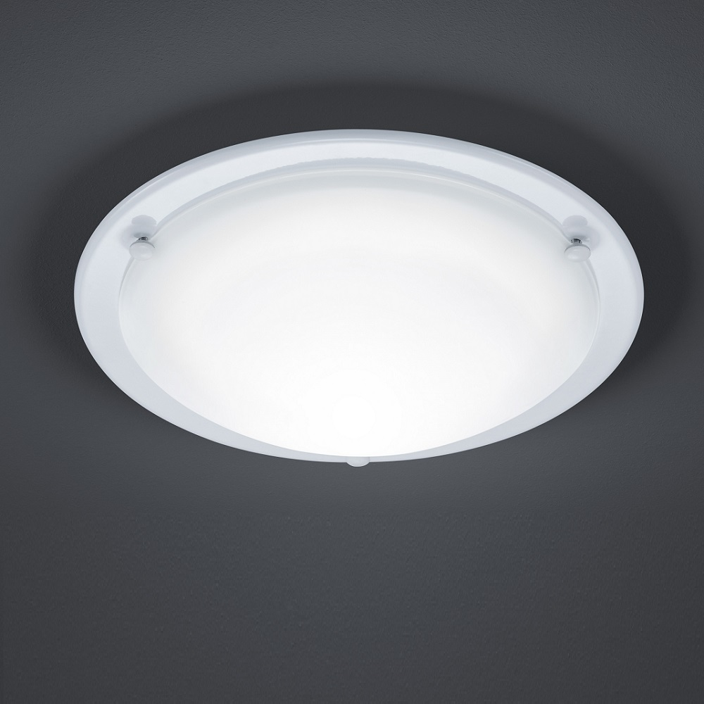 led deckenleuchte mit satiniertem glas ring wei 1x 10 watt wei wohnlicht. Black Bedroom Furniture Sets. Home Design Ideas