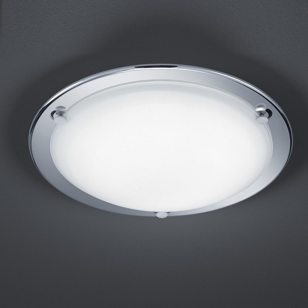 led deckenleuchte mit satiniertem glas ring chrom 1x 10 watt chrom wohnlicht. Black Bedroom Furniture Sets. Home Design Ideas