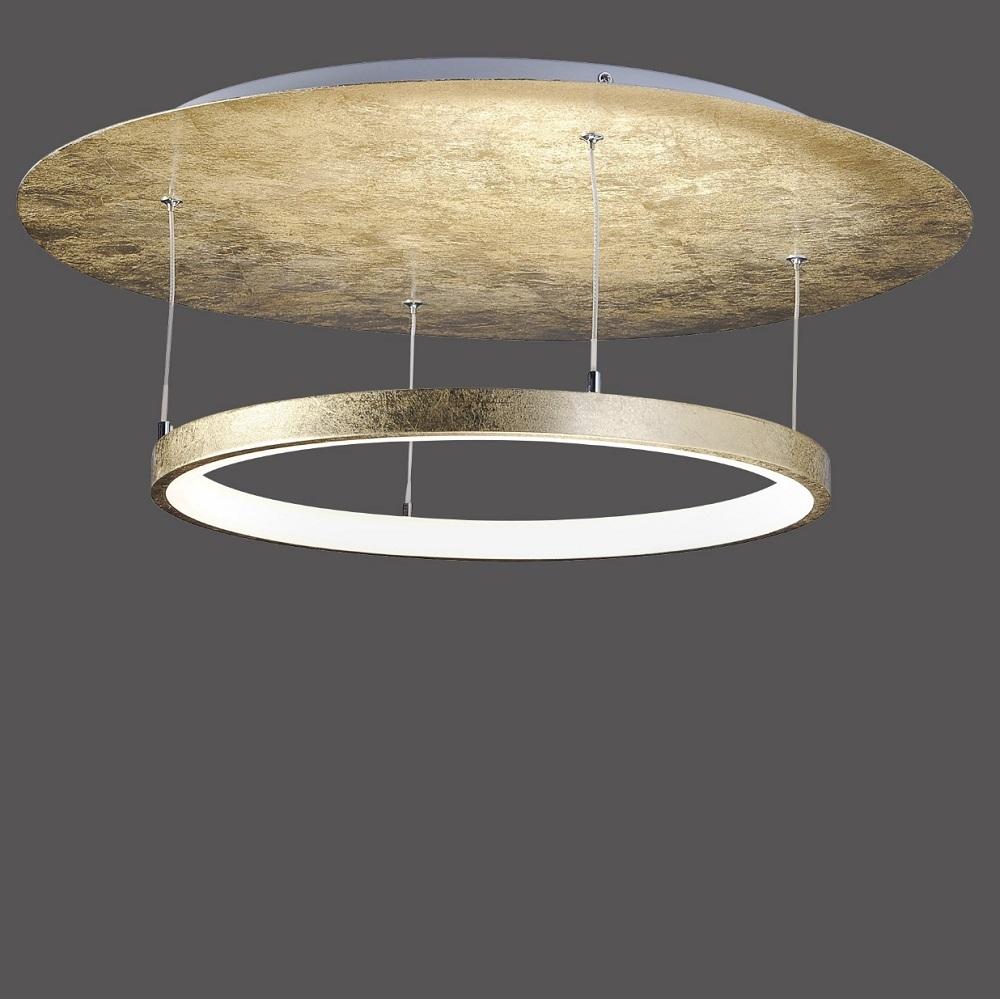LED Deckenleuchte, rund, Blattgold, dimmbar, D= 60cm, warmweiß   WOHNLICHT