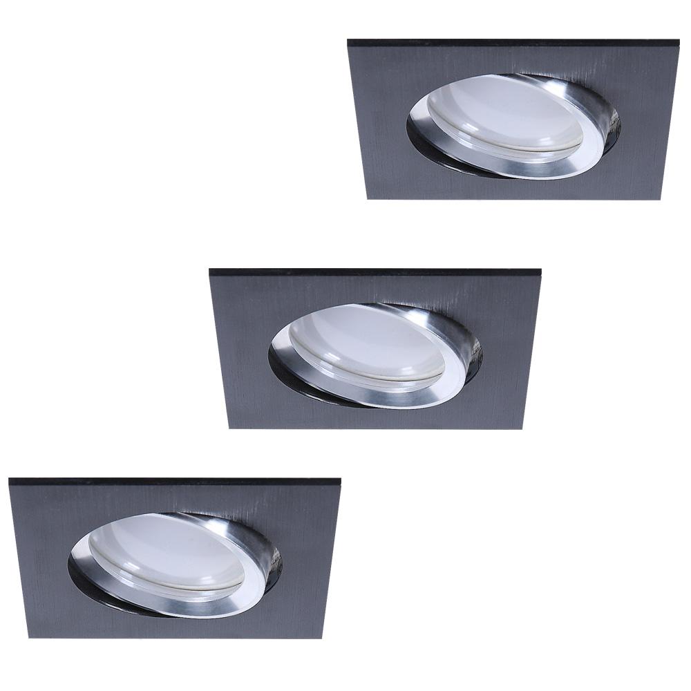led einbaustrahler 3er set aus aluminium schwarz 4 fach dimmbar wohnlicht. Black Bedroom Furniture Sets. Home Design Ideas
