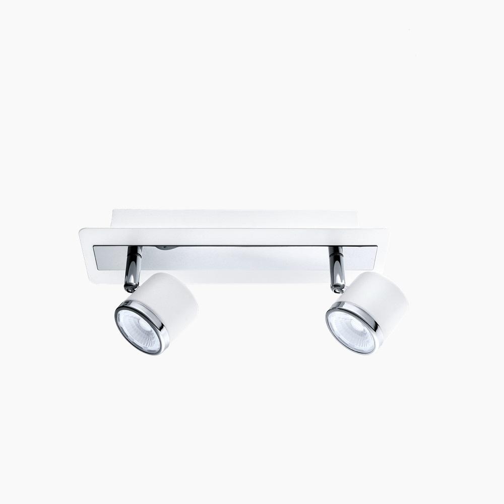 led leuchte wand decke 2 spots in nickel oder wei chrom wohnlicht. Black Bedroom Furniture Sets. Home Design Ideas