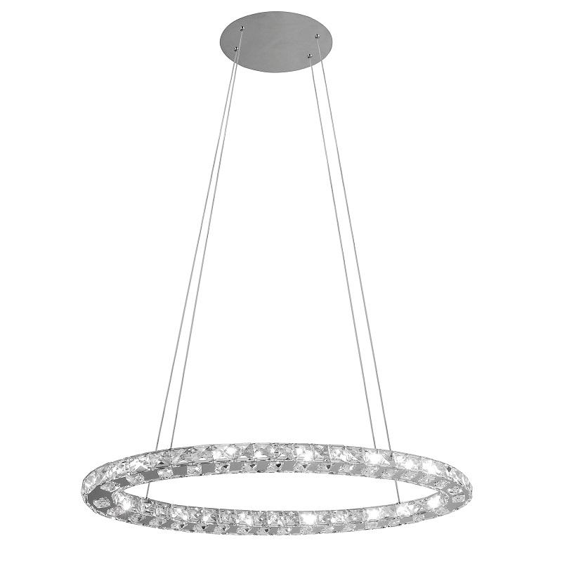 led pendelleuchte aus chrom und geschliffenes glas wohnlicht. Black Bedroom Furniture Sets. Home Design Ideas