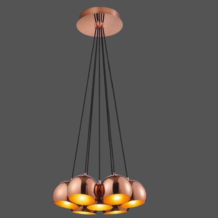 led pendelleuchte pluto 7 flammig kupfer oder schwarz wohnlicht. Black Bedroom Furniture Sets. Home Design Ideas