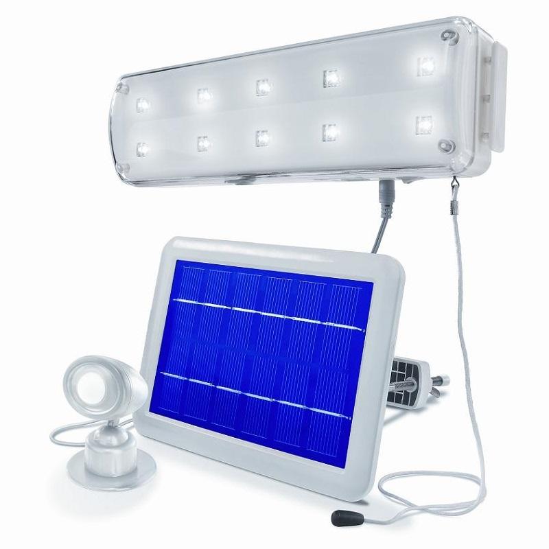 led solar led lichtsystem mit bewegungsmelder wohnlicht. Black Bedroom Furniture Sets. Home Design Ideas