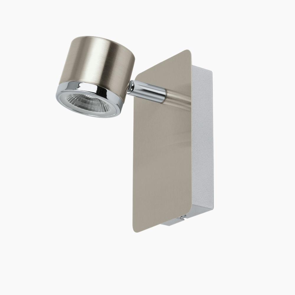 led spot f r die wand in nickel oder wei chrom wohnlicht. Black Bedroom Furniture Sets. Home Design Ideas