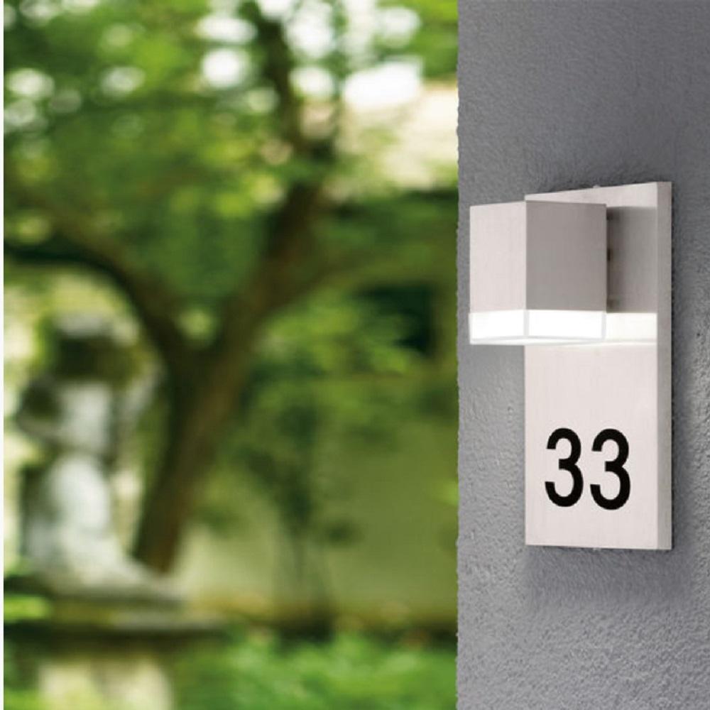 led au enwandleuchte mit hausnummer in edelstahl wohnlicht. Black Bedroom Furniture Sets. Home Design Ideas