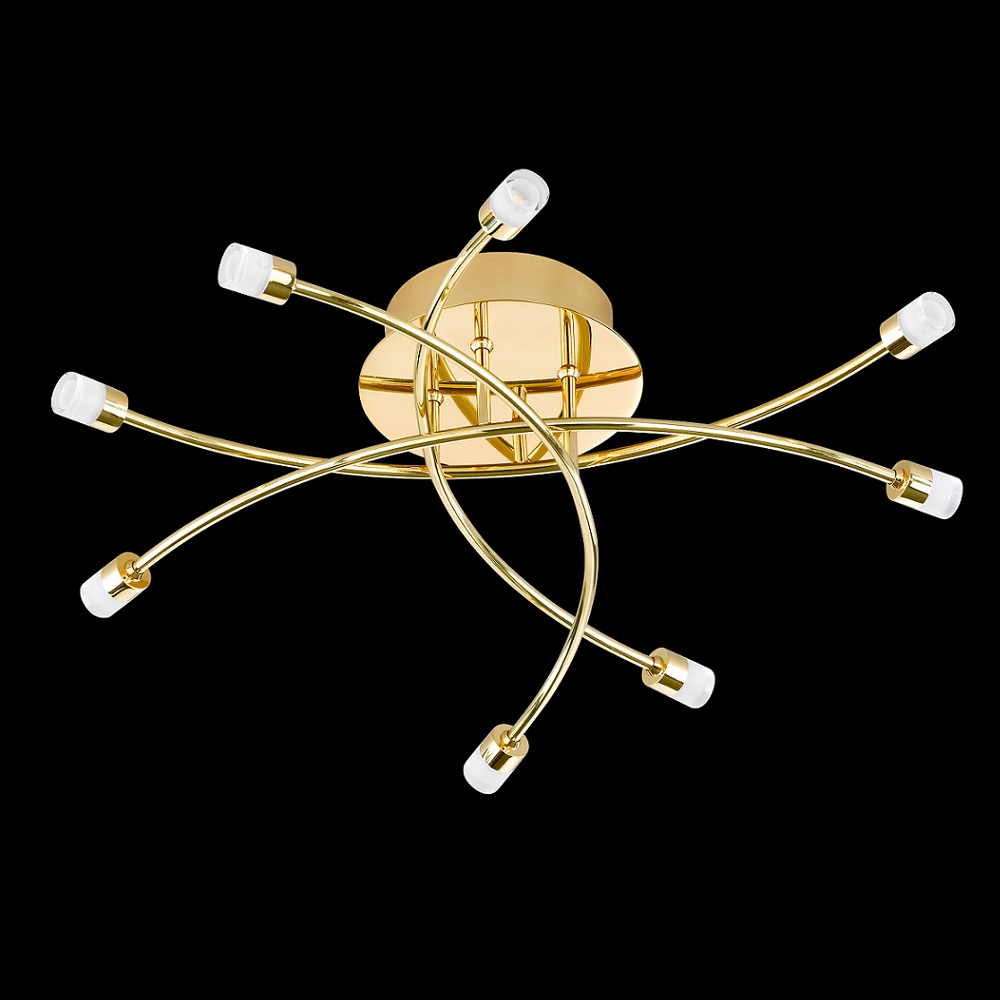 Led deckenlampe star messing poliert 53 cm 8x 2 5 watt for Deckenleuchte messing dimmbar