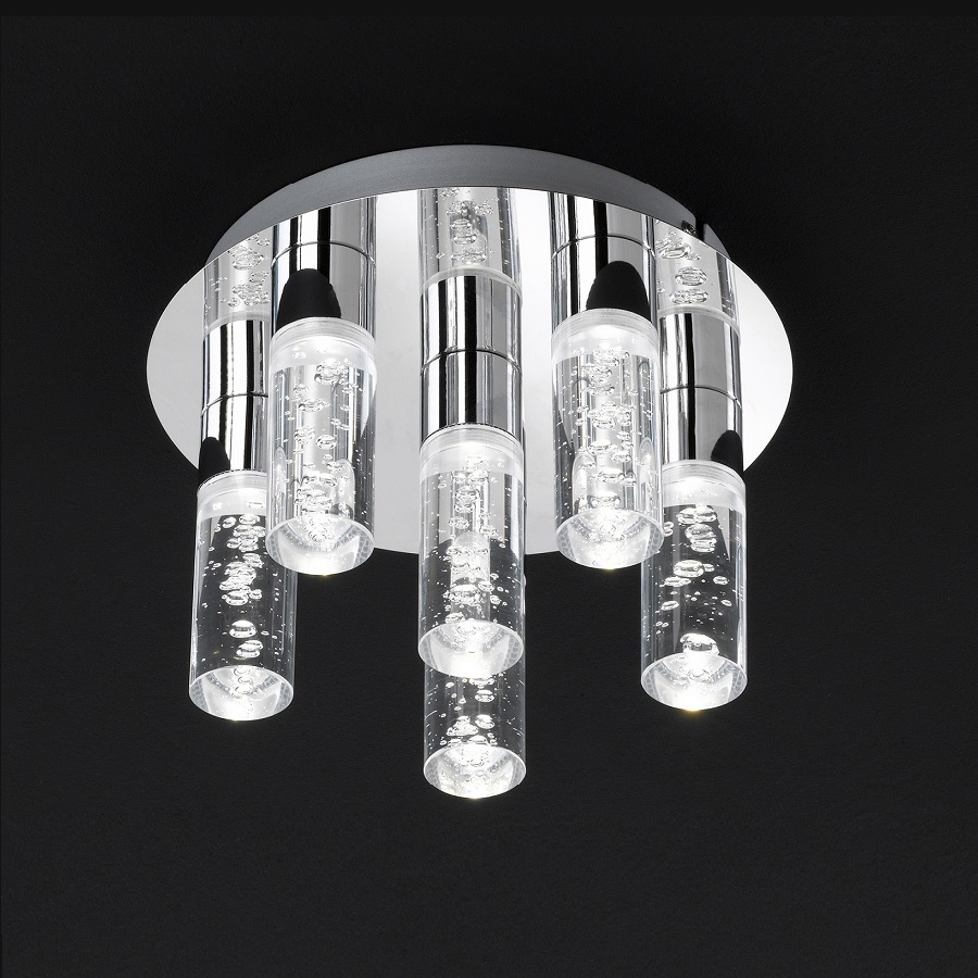 led deckenleuchte kent chrom led 6 x 5 watt wohnlicht. Black Bedroom Furniture Sets. Home Design Ideas