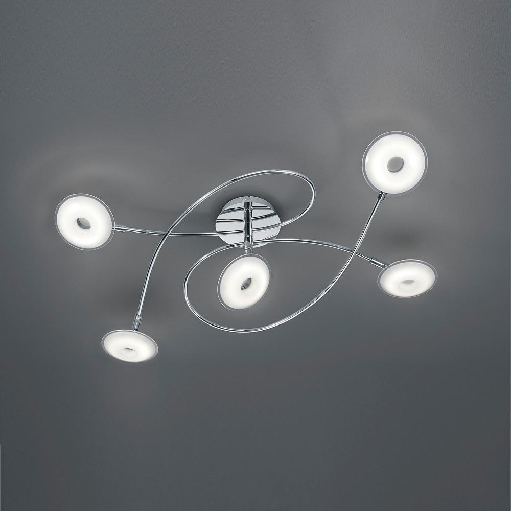 led deckenleuchte pilatus 5 flammig in chrom wohnlicht. Black Bedroom Furniture Sets. Home Design Ideas