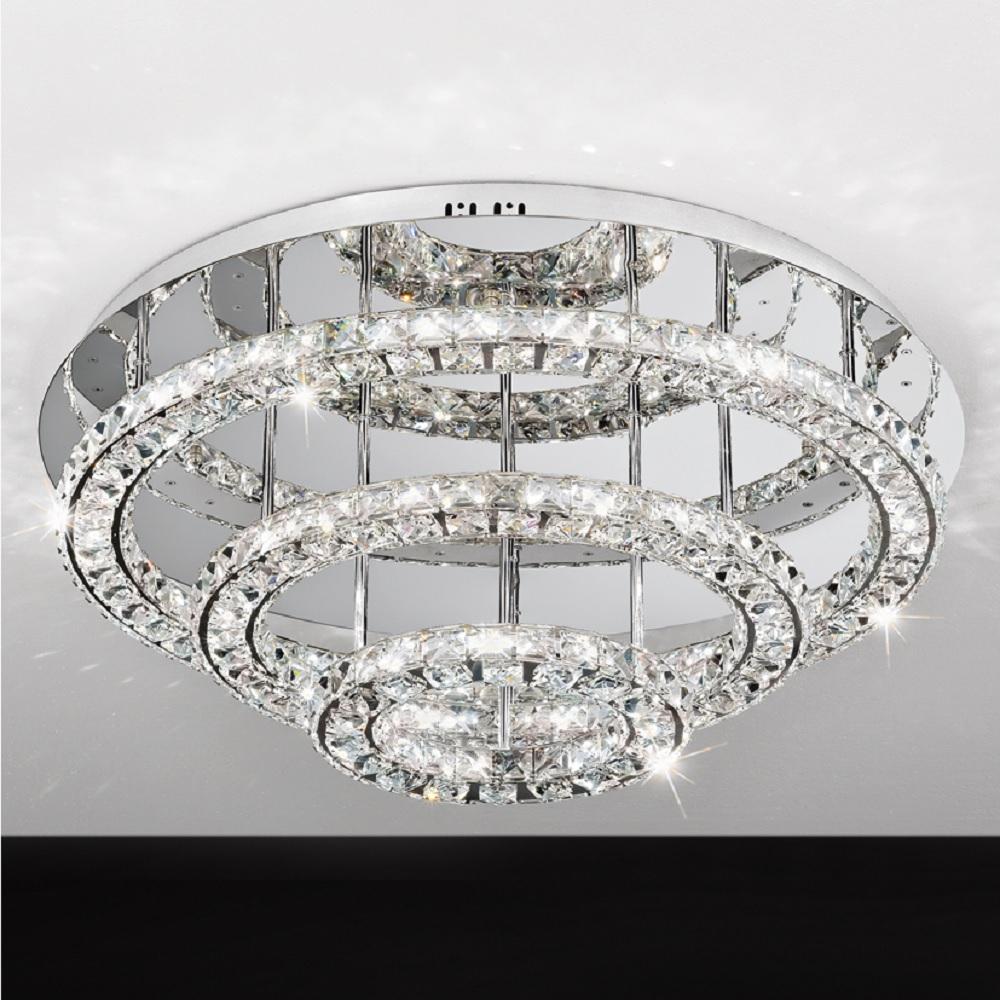 LED Deckenleuchte rund Chrom mit klarem Kristallglas, Ø 75 cm 144x 0,5 Watt, 30,00 cm, 75,00 cm ...