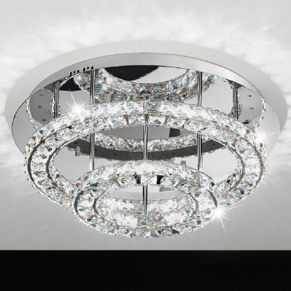 LED Deckenleuchte rund Chrom mit klarem Kristallglas in zwei Größen   WOHNLICHT