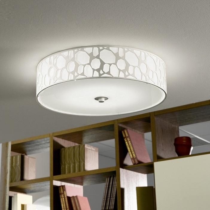 led deckenleuchte stahl kunststoff weiss glas satiniert weiss wohnlicht. Black Bedroom Furniture Sets. Home Design Ideas