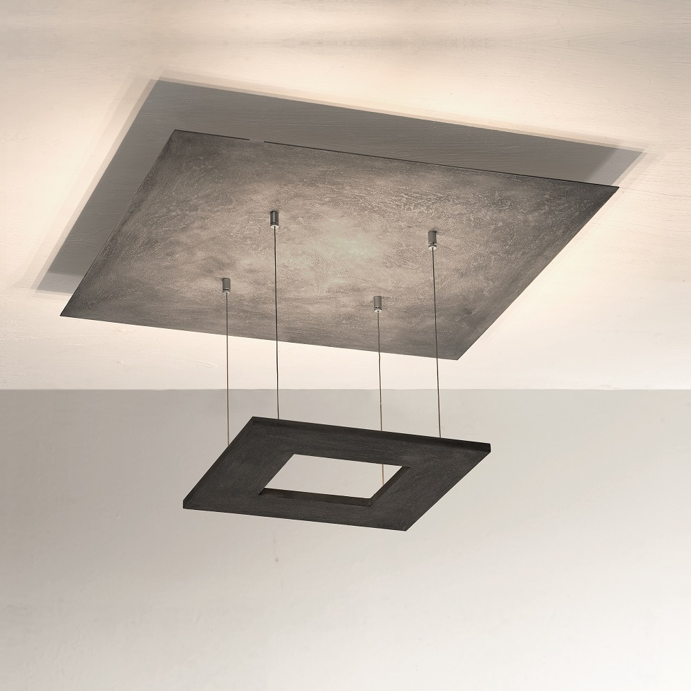 led deckenleuchte zen betonoptik 60 x 60 cm wohnlicht. Black Bedroom Furniture Sets. Home Design Ideas