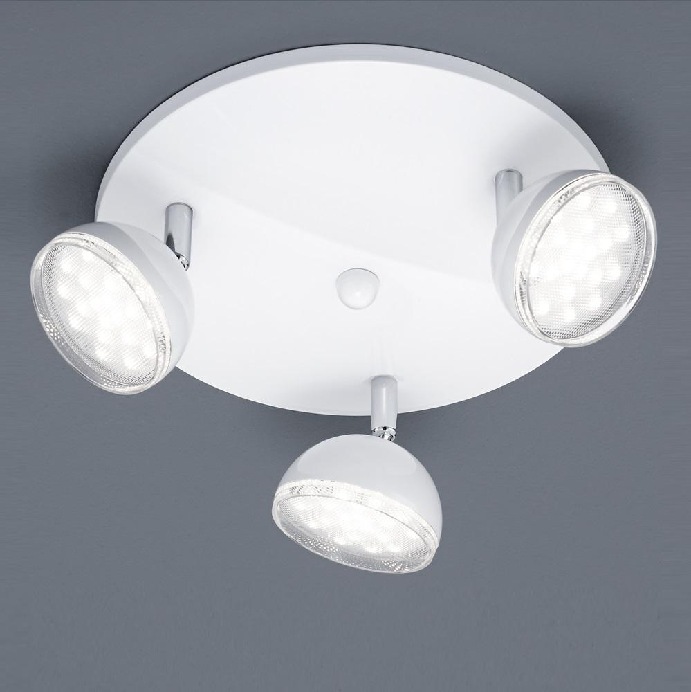 LED Deckenstrahler rund 25 cm Kunststoff Weiß / verchromt   WOHNLICHT