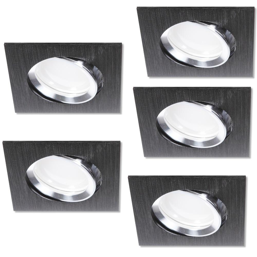 led einbaustrahler 5er set aus alu schwarz 4 fach dimmbar wohnlicht. Black Bedroom Furniture Sets. Home Design Ideas