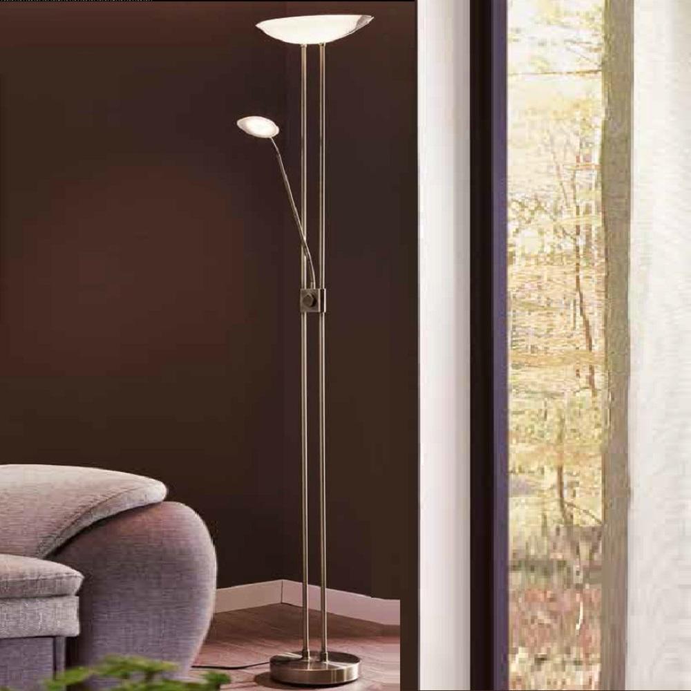 led fluter mit lesearm dimmbar 4 oberfl chen wohnlicht. Black Bedroom Furniture Sets. Home Design Ideas