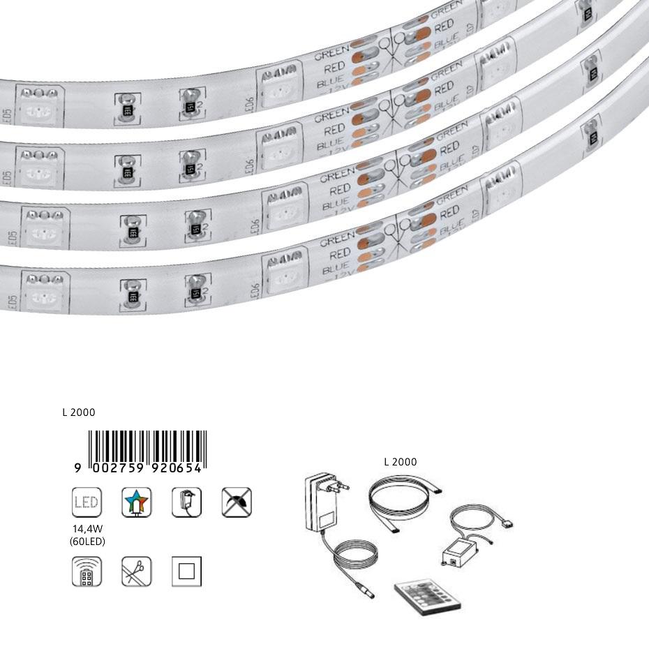 led lichtband mit farbwechsel inklusive 60 leds und fernbedienung 2 m wohnlicht. Black Bedroom Furniture Sets. Home Design Ideas