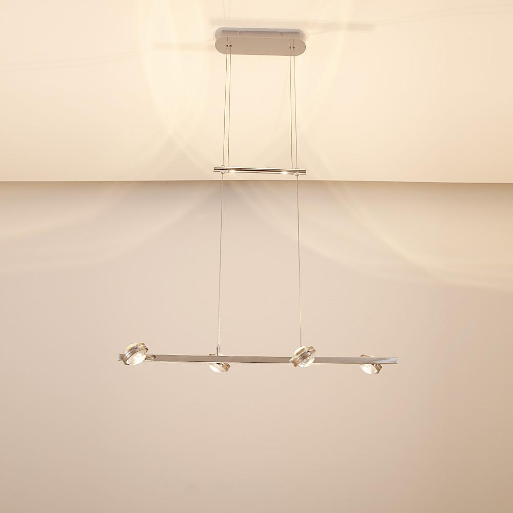 led pendelleuchte in chrom mit 4 fach switch dimmer wohnlicht. Black Bedroom Furniture Sets. Home Design Ideas