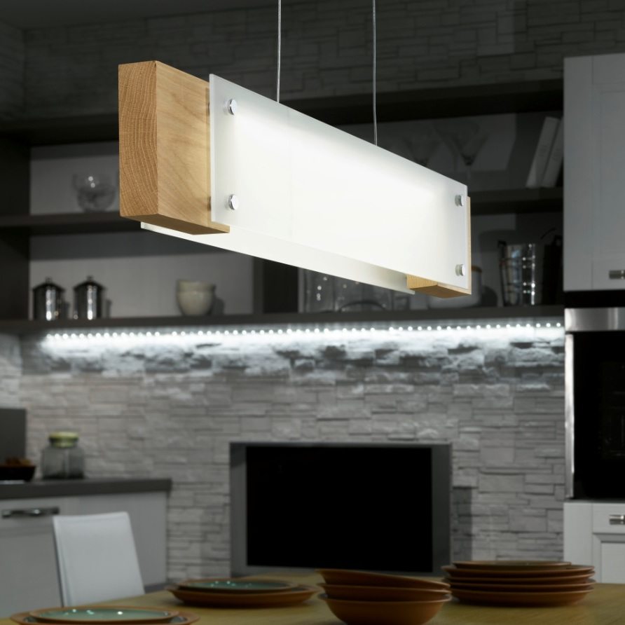 led pendelleuchte mit echtholz aus eiche und satiniertem. Black Bedroom Furniture Sets. Home Design Ideas