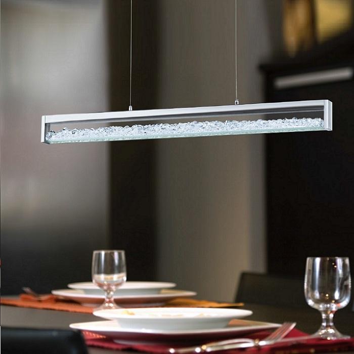 led pendelleuchte mit hochwertigen glas kristallen wohnlicht. Black Bedroom Furniture Sets. Home Design Ideas