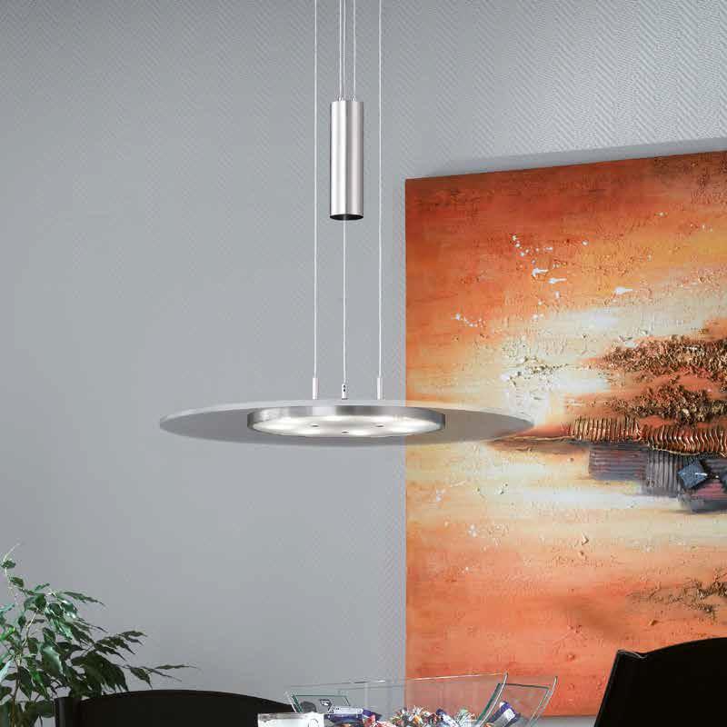 led pendelleuchte rund 38cm h henverstellbar nickel matt. Black Bedroom Furniture Sets. Home Design Ideas