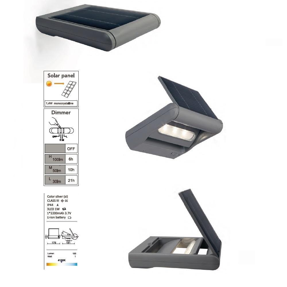 led solar wandleuchte mit dimmer in silber mit 3 leds 1x 1 watt 18 10 cm wohnlicht. Black Bedroom Furniture Sets. Home Design Ideas
