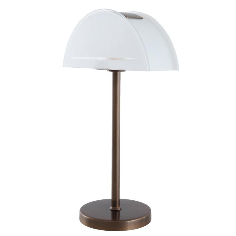 led tischleuchte in bronze mit teilsatiniertem glas 3 5w led wohnlicht. Black Bedroom Furniture Sets. Home Design Ideas