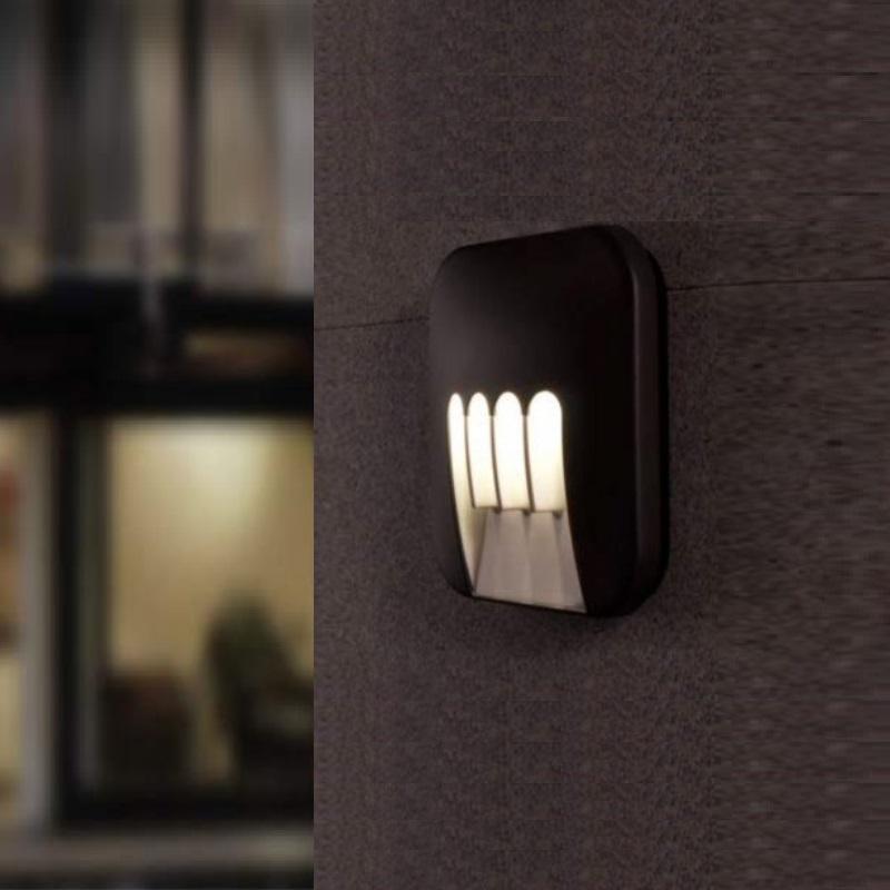 led wandleuchte eckig in anthrazit 4 x 3watt 22cm x 22cm wohnlicht. Black Bedroom Furniture Sets. Home Design Ideas