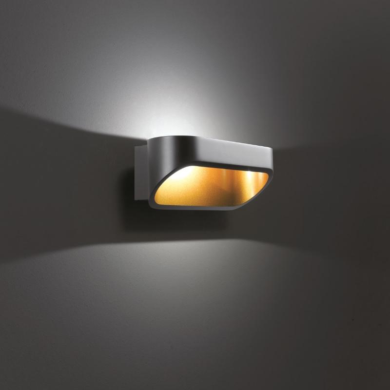 led wandleuchte onno 18cm in schwarz und gold wohnlicht. Black Bedroom Furniture Sets. Home Design Ideas