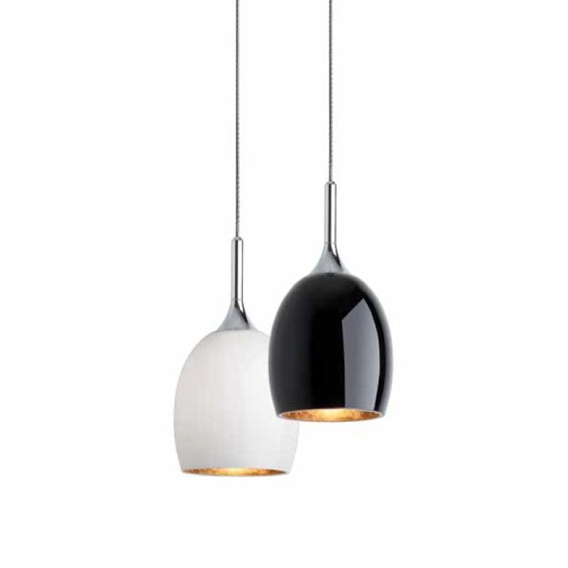 magnetline pendelleuchte aus glas in schwarz oder wei mit blattgoldbeschichtung wohnlicht. Black Bedroom Furniture Sets. Home Design Ideas