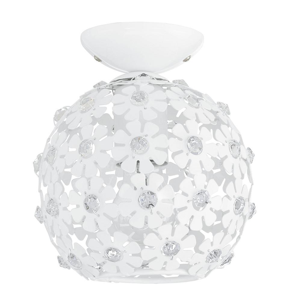 moderne deckenleuchte aus wei en bl ten mit kristallelementen wohnlicht. Black Bedroom Furniture Sets. Home Design Ideas