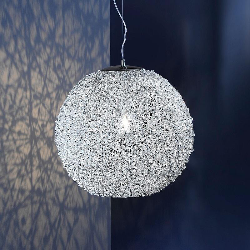 moderne kugel pendelleuchte mit fiberglas und chrom 40cm. Black Bedroom Furniture Sets. Home Design Ideas