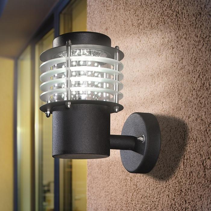 moderne led wandleuchte in schwarz eloxiert wohnlicht. Black Bedroom Furniture Sets. Home Design Ideas
