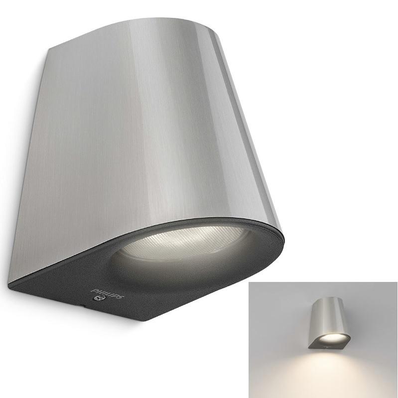 moderne led au en wandleuchte edelstahl als downlight 1 flammig 1x 3 watt 12 20 cm 9 20 cm. Black Bedroom Furniture Sets. Home Design Ideas