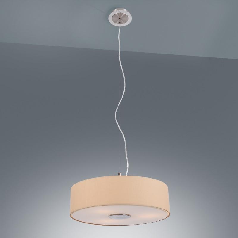Moderne pendelleuchte stoffschirm in beige 3x 60 watt for Pendelleuchte stoffschirm