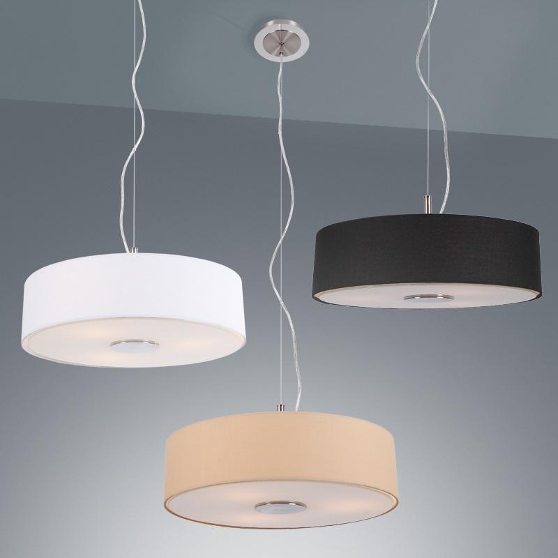 moderne pendelleuchte stoffschirm 3 verschiedene farben wohnlicht. Black Bedroom Furniture Sets. Home Design Ideas
