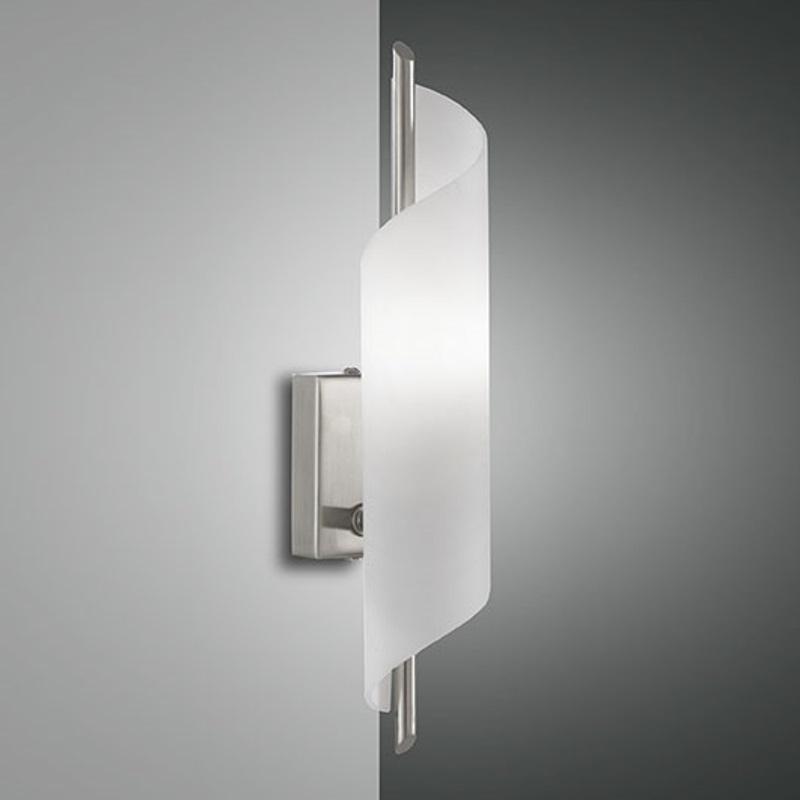 moderne wandleuchte mit geschwungenem glas schalter wohnlicht. Black Bedroom Furniture Sets. Home Design Ideas