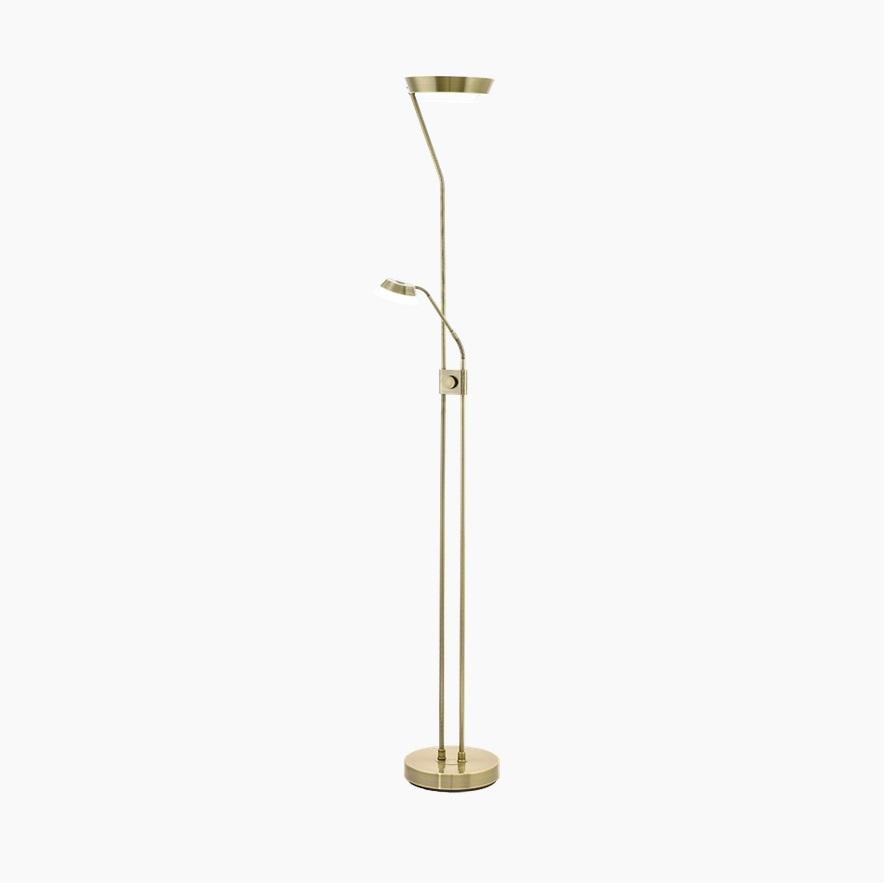 moderner led fluter dimmbar mit lesearm messing br niert wohnlicht. Black Bedroom Furniture Sets. Home Design Ideas