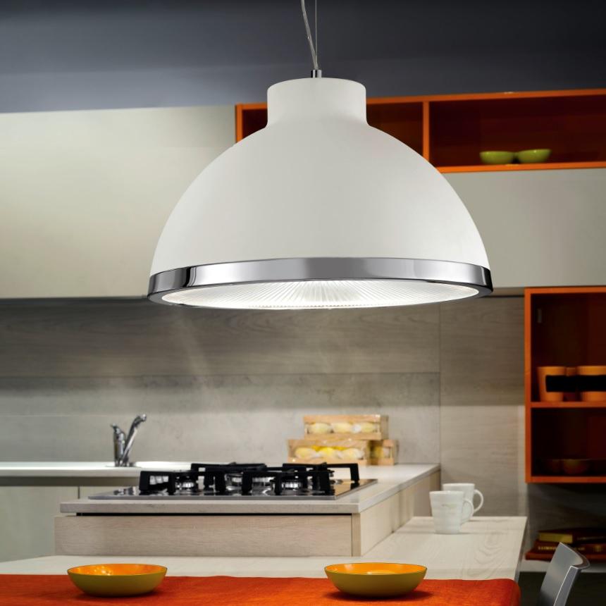 modern mehrflammige pendelleuchte in wei mit gro em schirm wohnlicht. Black Bedroom Furniture Sets. Home Design Ideas