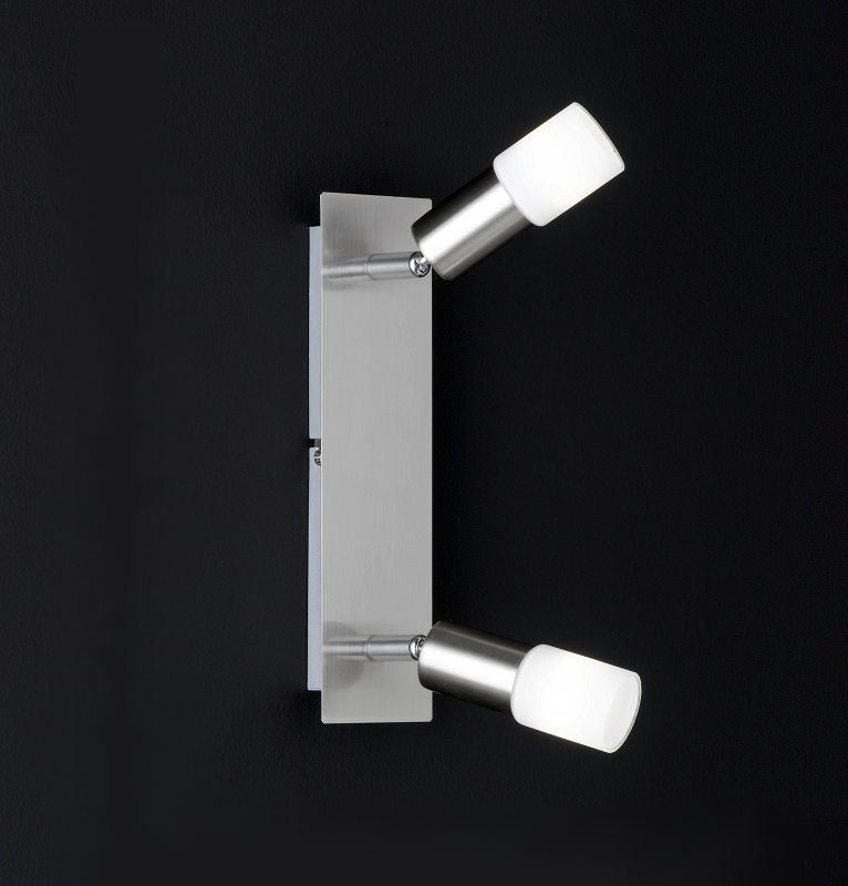 nickel matter led deckenstrahler 2 flammig glas wei satiniert breite 31 5cm inklusive 2x. Black Bedroom Furniture Sets. Home Design Ideas