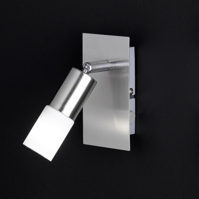 nickel matter led strahler mit schalter 1 flammig glas wei satiniert inklusive 1x e14 led. Black Bedroom Furniture Sets. Home Design Ideas