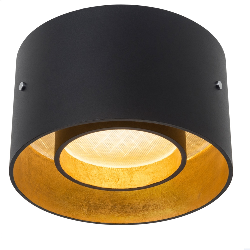 oligo led deckenleuchte trofeo schwarz matt blattgold schwarz gold wohnlicht. Black Bedroom Furniture Sets. Home Design Ideas