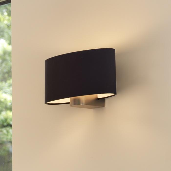 ovale wandleuchte mit stoffschirm 28 5 cm schwarz schwarz wohnlicht. Black Bedroom Furniture Sets. Home Design Ideas