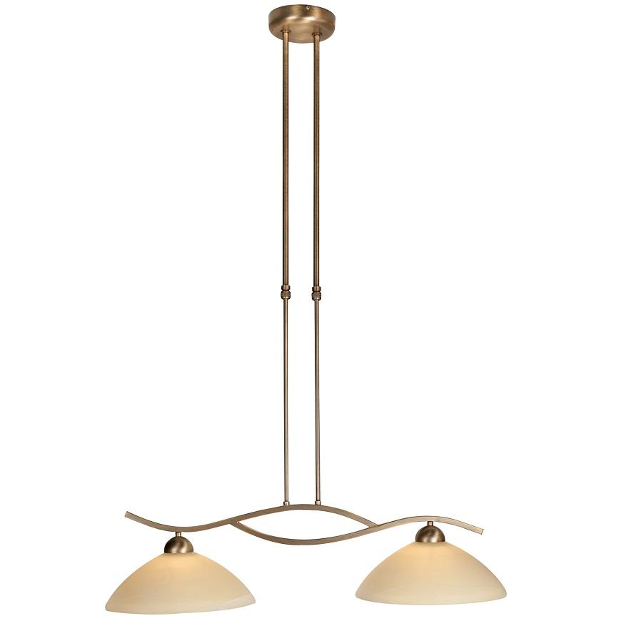 pendelleuchte 2 flammig glas creme bronzefarben wohnlicht. Black Bedroom Furniture Sets. Home Design Ideas
