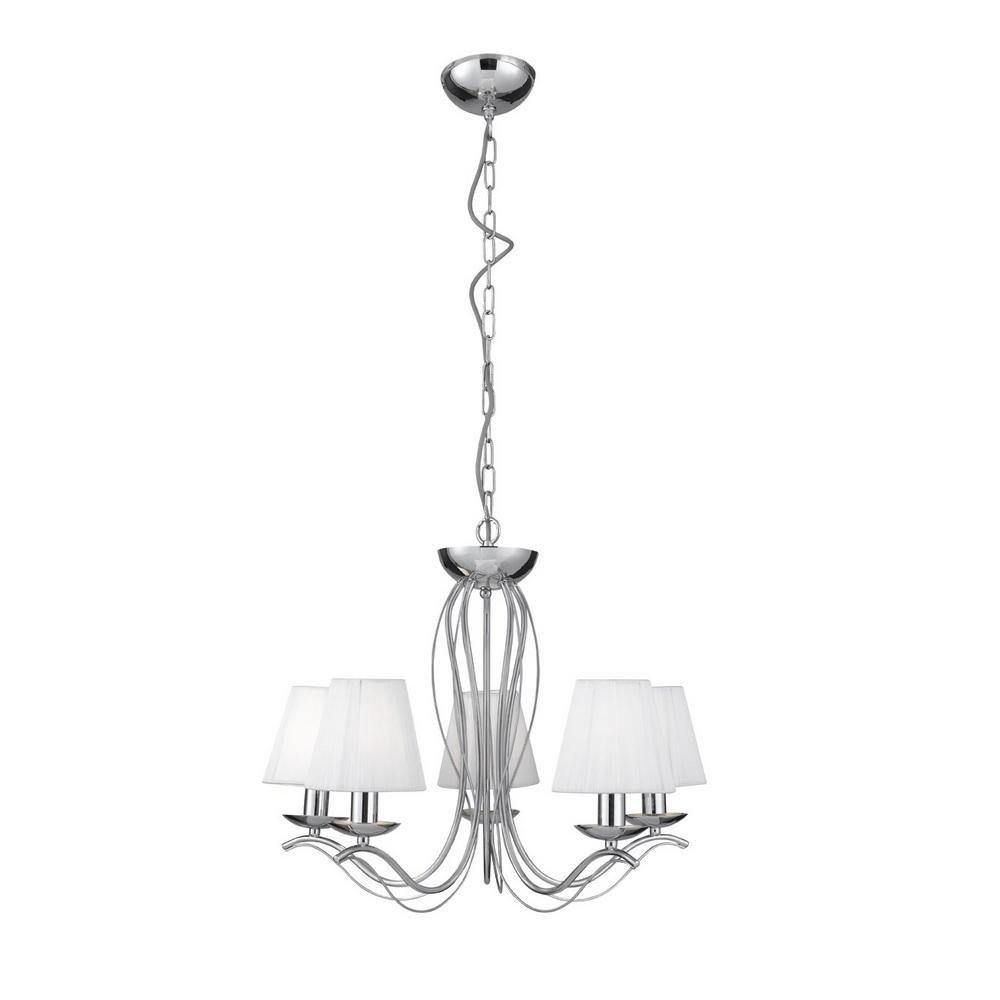 pendelleuchte 5 flammig mit stofflampenschirmen 2 oberfl chen wohnlicht. Black Bedroom Furniture Sets. Home Design Ideas