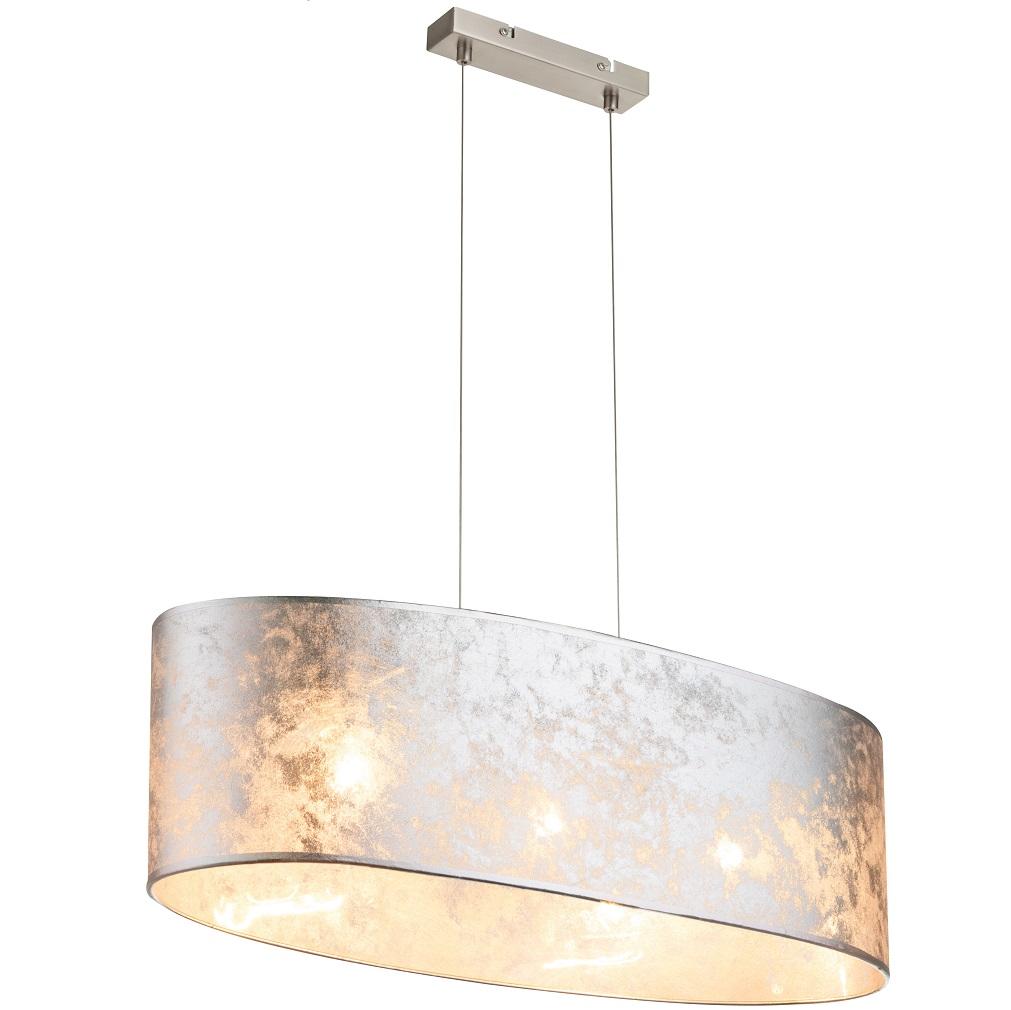 Pendelleuchte amy i stoffschirm in silber metallic wohnlicht for Pendelleuchte stoffschirm